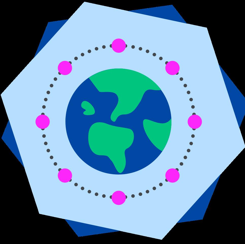 Globe circled by pink dots