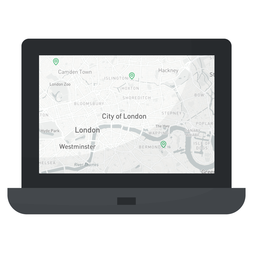 Location pinpoints on a map, showing local UK businesses.